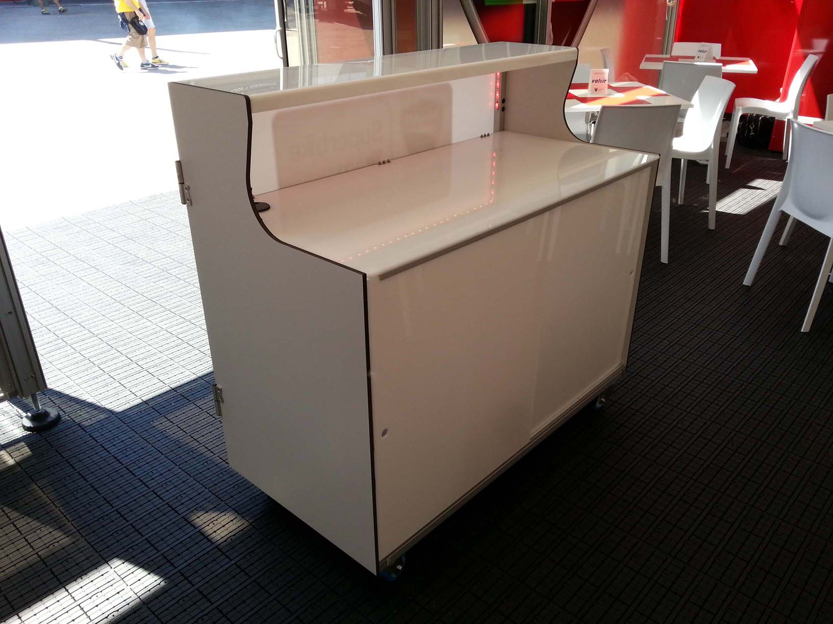 desk for sport events and demonstration, reception bar counter